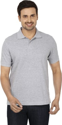 Basileo Solid Men's Polo Neck Grey T-Shirt