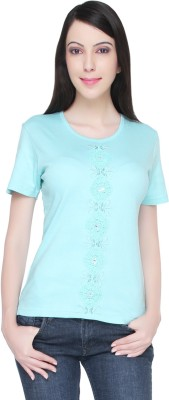 Bedazzle Embroidered Women's Round Neck Green T-Shirt