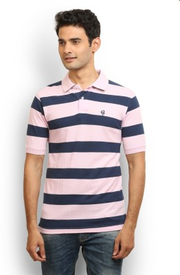Thisrupt Striped Men's Polo Neck Pink T-Shirt