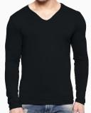 Fashion Hunk Solid Men's V-neck Black T-...