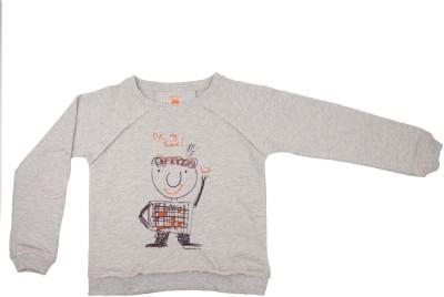 NeedyBee Printed Boy's Round Neck Grey T-Shirt
