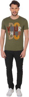 Being Human Clothing Printed Men's Round Neck Green T-Shirt