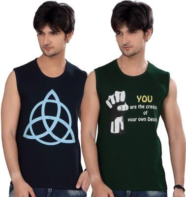 Elegance Cut Printed Men's Round Neck Green T-Shirt