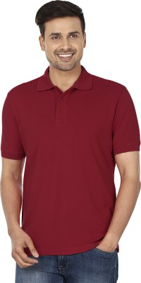 Wills Lifestyle Solid Men's Polo Red T-Shirt