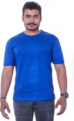 Colours99 Solid Men's Round Neck Blue T-Shirt