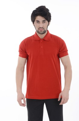 Burdy Solid Men's Polo Neck Red T-Shirt