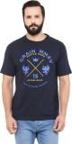 Grain Printed Men's Round Neck Dark Blue...