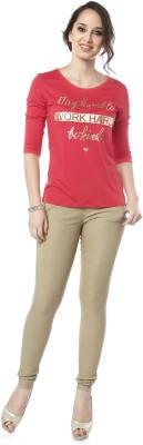 Miss Pink Solid Women's Round Neck Red T-Shirt