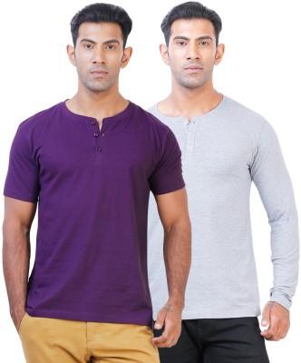 Click Hit Solid Men's Henley Purple, Grey T-Shirt