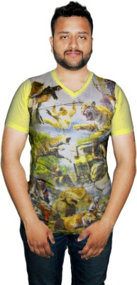 Modish Vogue Printed Men's V-neck Yellow T-Shirt