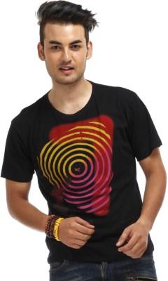 Chlorophile Printed Men's Round Neck Black T-Shirt