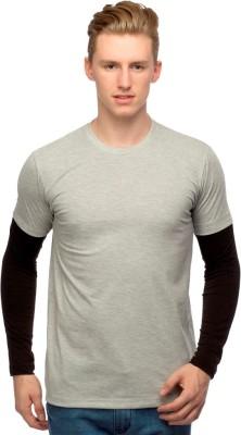 Martech Solid Men's Round Neck Grey, Black T-Shirt