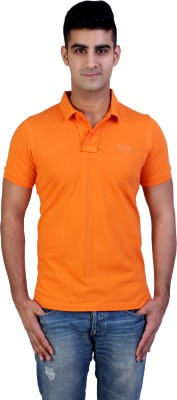 Bridge Solid Men's Polo Neck Orange T-Shirt