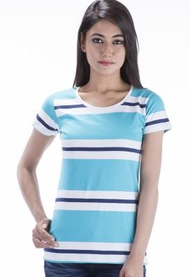 Peppermint Blues Striped Women,s Round Neck Blue T-Shirt