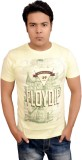 LofoX Printed Men's Round Neck Yellow T-...