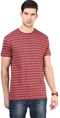 T-shirt Company Striped Men's Round Neck Red T-Shirt