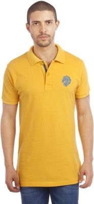 Leo Solid Men's Polo Neck Yellow T-Shirt