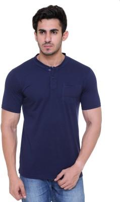 FREE RUNNER Solid Men's Round Neck Dark Blue T-Shirt