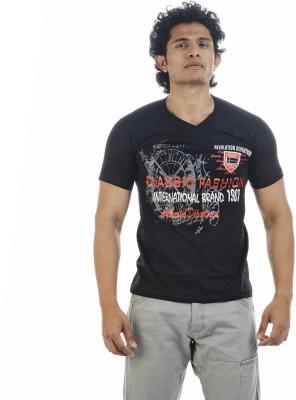 Shapers Printed Men's V-neck Black T-Shirt