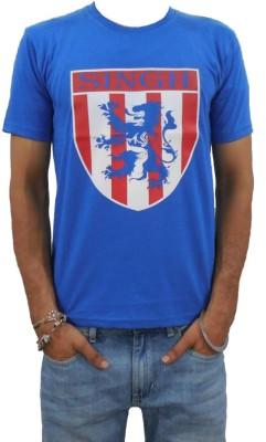 Chardikala Animal Print Men,s Round Neck Dark Blue T-Shirt
