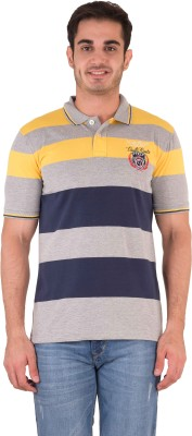 Kingswood Striped Men's Polo Yellow T-Shirt