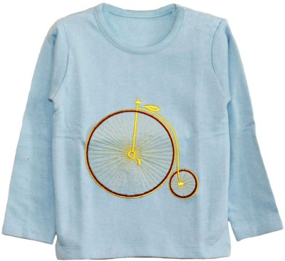 My Little Lambs Solid Boy's Round Neck Blue T-Shirt