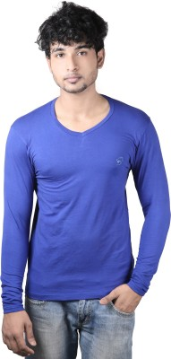 Spur Solid Men's V-neck Dark Blue T-Shirt