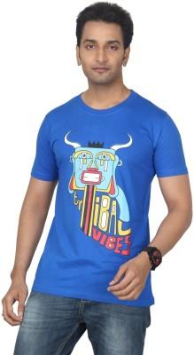 Bandarwalla Graphic Print Men,s Round Neck Dark Blue T-Shirt
