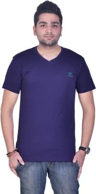 Colors and Blends Solid Men,s V-neck Purple T-Shirt