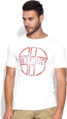 883 Police Graphic Print Men's Round Neck White T-Shirt