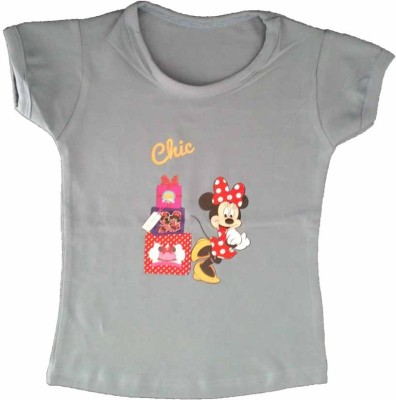 Cool Baby Printed Girl's Round Neck Grey T-Shirt