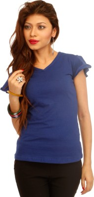 A N, E Solid Women's V-neck Blue T-Shirt