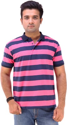 Goyal Arts Striped Men's Flap Collar Neck Maroon T-Shirt