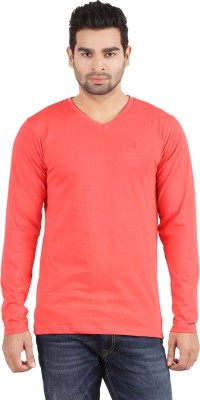 R - Cross Solid Men's V-neck Red T-Shirt