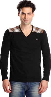 Bombay High Solid Men,s V-neck Black T-Shirt