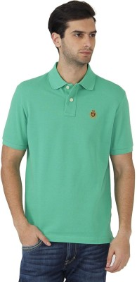Fahrenheit Solid Men's Polo Neck Light Green T-Shirt