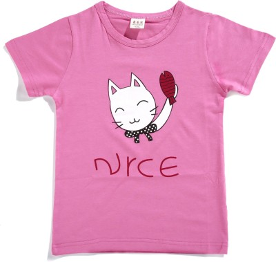 Zonko Style Solid Baby Girl's Round Neck Pink T-Shirt