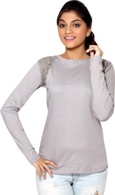 Loco En Cabeza Solid Women's Round Neck Grey T-Shirt