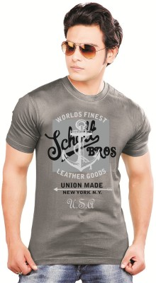 balaji Printed Men's Round Neck Grey T-Shirt