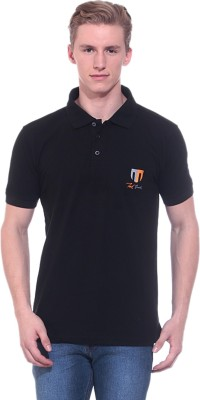 Ted Smith Solid Men's Polo Neck Black T-Shirt