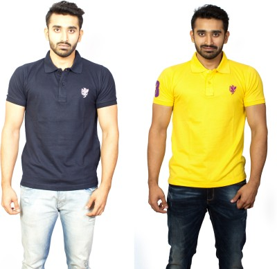 1OhOne Solid Men,s Polo Blue, Yellow T-Shirt