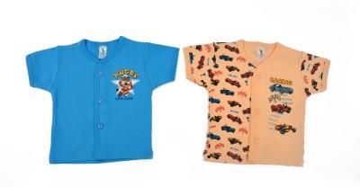 Cucumber Printed Baby Boy's Round Neck Orange, Blue T-Shirt