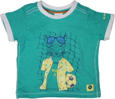 FS Mini Klub Printed Baby Boy's Round Neck Green T-Shirt
