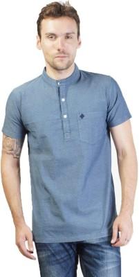 SEABOARD Self Design Men,s Fashion Neck Blue T-Shirt