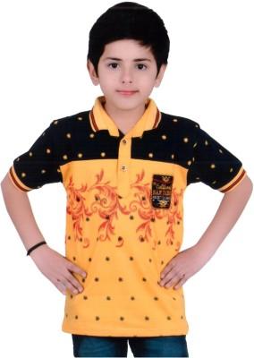 KABEER Embellished Baby Boy's V-neck Yellow, Black T-Shirt