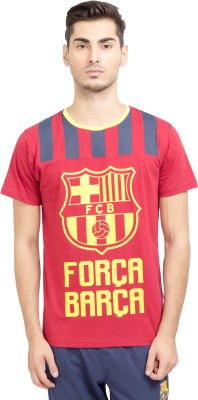 FC Barcelona Printed Men's Round Neck Maroon T-Shirt
