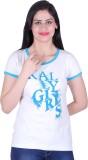 Kally Printed Women's Round Neck White T...