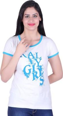 Kally Printed Women's Round Neck White T-Shirt