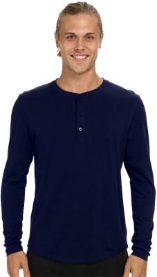Nicewear Solid Men's Henley Blue T-Shirt