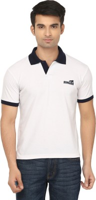 Himgiri Solid Men's Polo Neck White, Black T-Shirt